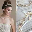Ivory Pearls Beads Gold Flower Princess Tiara Rhinestone Crystal Hair Headband