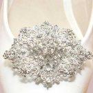 Wedding Bridal Oval Vintage Style Silver Tone Rhinestone Crystal Shoe Clips Pair
