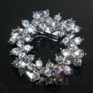 Vintage Style Simple Flower Wreath Rhinestone Crystal Silver Tone Shoe Clips