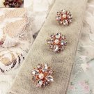 Lot of 4 Ivory Pearl Gold Rhinestone Crystal Victorian Sewing Shank Buttons DIY