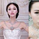 Bridal Wedding Crystal Rhinestone Halter Shoulder Necklace Earrings Jewelry Set