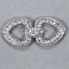 Large Rhinestone Crystal Hearts Wedding Bridal Wrap Closure Hook and Eye Clasp