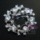 1 Piece - Vintage Style Motif Flower Wreath Rhinestone Crystal Silver Scarf Clip