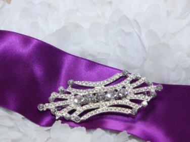 Wedding Dress Vintage Style Clear Rhinestone Crystal Silver Scarf Brooch Pin