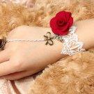 White Lace Red Rose Bow Charm Dangle Drop Wedding Slave Copper Bracelet
