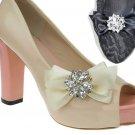 Black/Ivory Butterfly Bow Rhinestone Crystal Wedding Bridal Shoe Clips Pair -CA