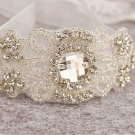 Rhinestone Crystal Wedding Bridal Applique Ribbon Organza Bracelet Bangle