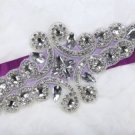 LOT OF 3 IRON/ SEW BEADED CRYSTAL RHINESTONE WEDDING GOWN DRESS SASH APPLIQUE