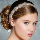 Classic White Ribbon Crystal Rhinestone Beaded Applique Wedding Headband