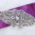 Lot of 4 Crystal Rhinestone Beaded Wedding Bridal Craft Sash Headband Applique