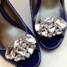Sparkling Rhinestone Crystal Wedding Bridal Silver Tone Shoe Clips Pair