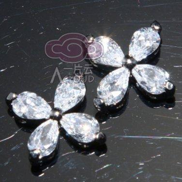 Lot of 5 Pear Austria Rhinestone Crystal Petals Small Flower Sew Beads Flat Back
