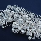 LOT OF 4 FAUX PEARL WEDDING BRIDAL VINTAGE STYLE RHINESTONE CRYSTAL HAIR COMB