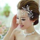 SET OF WEDDING BRIDAL RHINESTONE CRYSTAL PEARLS HAIR COMB & EARRINGS & NECKLACE