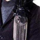 Black Feather Tassel Smart Men Wedding Party Ascot Rose Necktie Brooch -CA