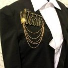 Punk Style Lady Men Wedding Party Gold Suit Zip Corsage Tassel Brooch Pin  -CA