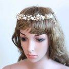 Bridal Wedding Clay Flower Rhinestone Crystals Gold Hair Headpiece Tiara -CA