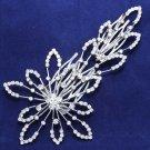 Wedding Bridal Rhinestone Crystal Star Long Hair Comb Silver Plated Headpiece