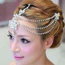 Wedding Bridal Rhinestone Crystal Dangle Forehead Tikka Headpiece Hair Clip