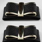 A Pair Elegant Black PU Leather Bow Butterfly Wedding Bridal Shoe Clips -CA
