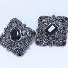 Lot of 2 DIY Wedding Gothic Style Black Rhinestone Crystal Shank Button - CA