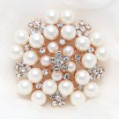 Wedding Bridal Rhinestone Crystal Cream Faux Pearl Gold Or Silver Brooch Pin
