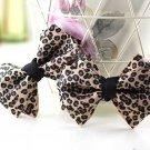 Elegant Leooard Ribbon Bow Simply Simple Butterfly High-Heel Shoe Clips -CA
