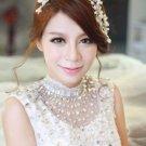 Bridal Wedding Rhinestone Crystal Flower Faux Pearl Hair Headpiece Tiara