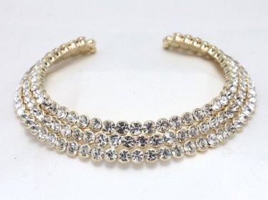 Silver/Gold/Black Tone Wedding Bridal Fashion Rhinestone Rows Choker Necklace