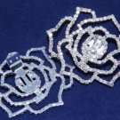 Rhinestone Crystal Rose Flower Wedding Bridal  Bluette Shoes Clips Pair -CA