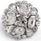 Baguette Rhinestone Crystal Wedding Bridal Alloy Round Cake Jewelry Brooch Pin