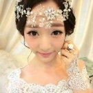 Wedding Bridal Ivory Pearl Flower Rhinestone Crystal Hair Forehead Tiara Vines