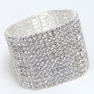 13 Rows Rhinestone Bridal Wedding Elastic Bouquet Stem Bangle Bracelet -CA