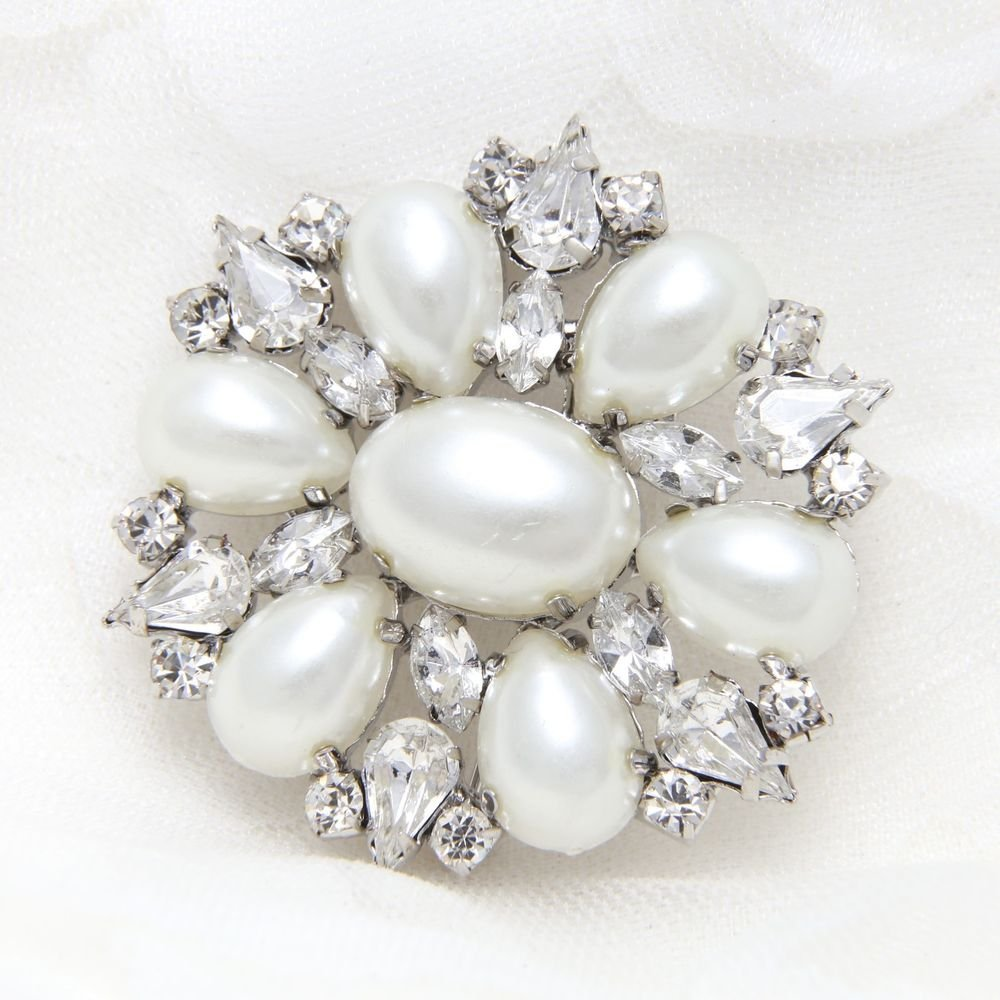 Ivory Faux Pearl Wedding Bridal Rhinestone Crystal Brooch Broach Pin Jewelry