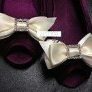 Bridal Wedding Rhinestone Crystal Cream Ribbon Bow Butterfly Shoe Clips