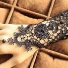 Black Lace Goth Victorian Lolita Floral Embroidery Black Droplet Slave Bracelet