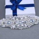 Cream Pearl Rhinestone Crystal Wedding Bridal Applique Ribbon Bracelet Bangle