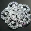 LOT OF 4 FLOWER BRIDAL WEDDING RHINESTONE CRYSTAL DRESS CAKE BROOCH PIN