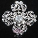 Vintage Style Classic Pattern Silver Cross Rhinestone Crystal Wedding Brooch Pin