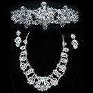 Wedding Bridal Rhinestone Crystal Crown Dangle Earrings Necklace Jewelry Set