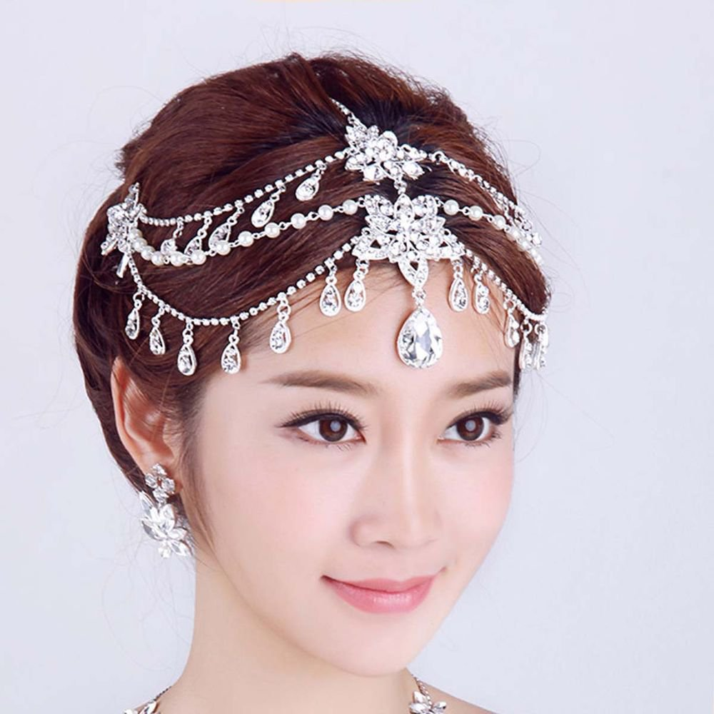 Bridal Wedding Chain Rhinestone Crystal Hair Tiara Dangle Pearl Headpiece -CA
