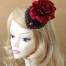 Gothic Bridal Wedding Festival Party Red Rose Side Hair Clip Accessory -CA
