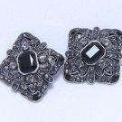 Lot of 2 Vintage Style Wedding Rhinestone Crystal Black Shank Buttons DIY
