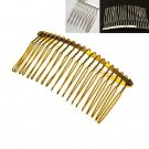 LOT OF 4 TEETH8/14/20 DOUBLE LOOP BRIDAL WEDDING DIY SILVER GOLD METAL HAIR COMB