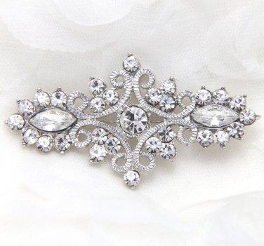 VINTAGE STYLE RHINESTONE CRYSTAL WEDDING BRIDAL DRESS SASH RHOMBUS BROOCH PIN