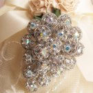 AURORA RHINESTONE CRYSTAL SILVER WEDDING BRIDAL CAKE BROOCH PIN