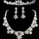 Rhinestone Wedding Bridal Forehead Tiara Clip on Earrings Necklace Jewelry Set