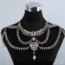 Bridal Wedding Necklace Jewelry Crystal Leaf Rhinestone Shoulder Chain Strap
