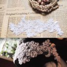 Lot Of 4 Embroidery Wedding Bridal White Faux Pearl Craft DIY Lace Patch