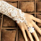 Cream Lace Goth Victorian Lolita Floral Embroidery Ivory Droplet Slave Bracelet